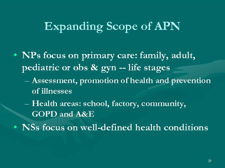 Expanding Scope of APN • NPs focus on primary care: family, adult, pediatric or