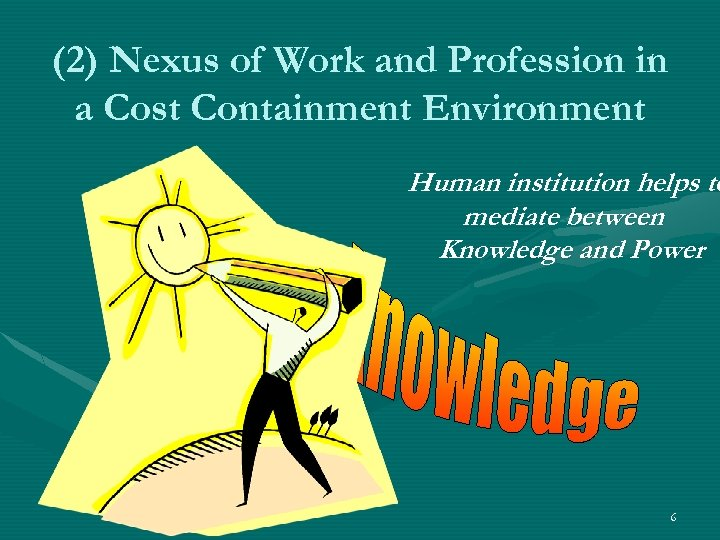(2) Nexus of Work and Profession in a Cost Containment Environment Human institution helps