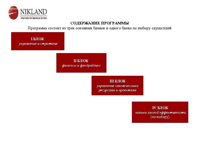 СОДЕРЖАНИЕ ПРОГРАММЫ Программа состоит из трех основных блоков и одного блока по выбору слушателей