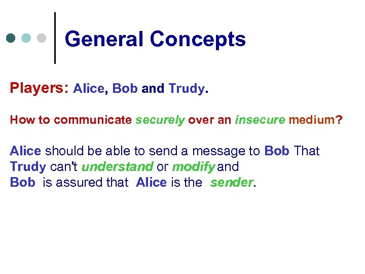 General Concepts Players: Alice, Bob and Trudy. How to communicate securely over an insecure