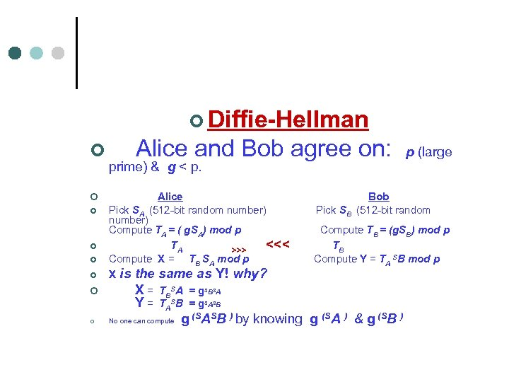 ¢ Diffie-Hellman ¢ Alice and Bob agree on: p (large ¢ ¢ ¢ prime)