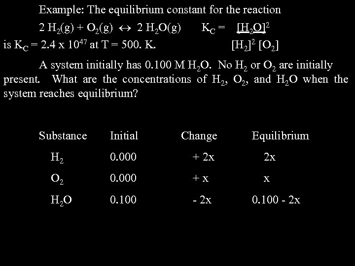 Example: The equilibrium constant for the reaction 2 H 2(g) + O 2(g) 2