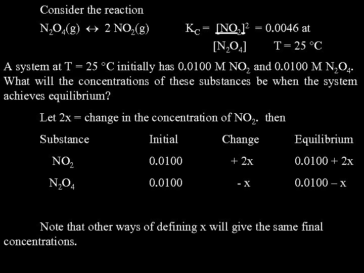 Consider the reaction N 2 O 4(g) 2 NO 2(g) KC = [NO 2]2