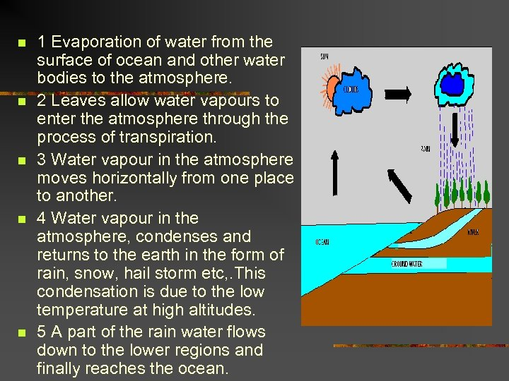 n n n 1 Evaporation of water from the surface of ocean and other