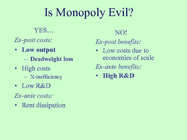 Is Monopoly Evil? YES… Ex-post costs: • Low output – Deadweight loss • High