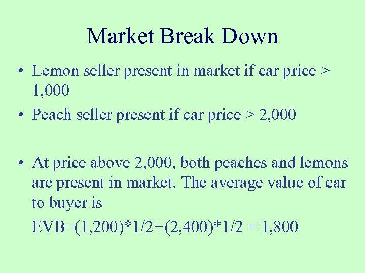 Market Break Down • Lemon seller present in market if car price > 1,