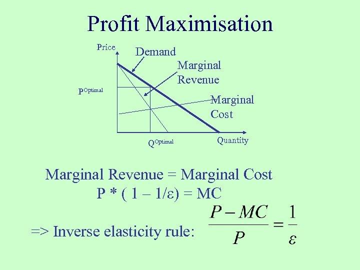 Profit Maximisation Price Demand Marginal Revenue POptimal Marginal Cost QOptimal Quantity Marginal Revenue =