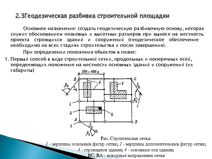 2. 3 Геодезическая разбивка строительной площадки Основное назначение: создать геодезическую разбивочную основу, которая служит