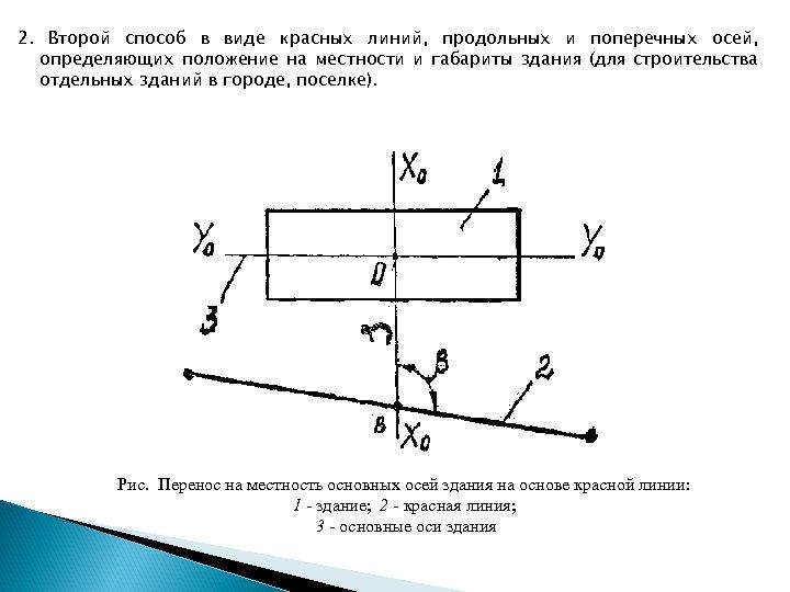 2. Второй способ в виде красных линий, продольных и поперечных осей, определяющих положение на