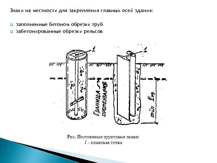Знаки на местности для закрепления главных осей здания: q q заполненные бетоном обрезки труб
