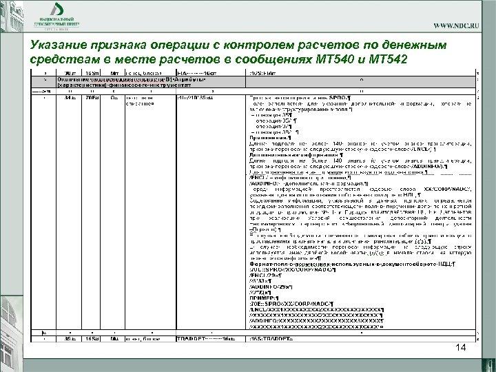 Указание признака операции с контролем расчетов по денежным средствам в месте расчетов в сообщениях