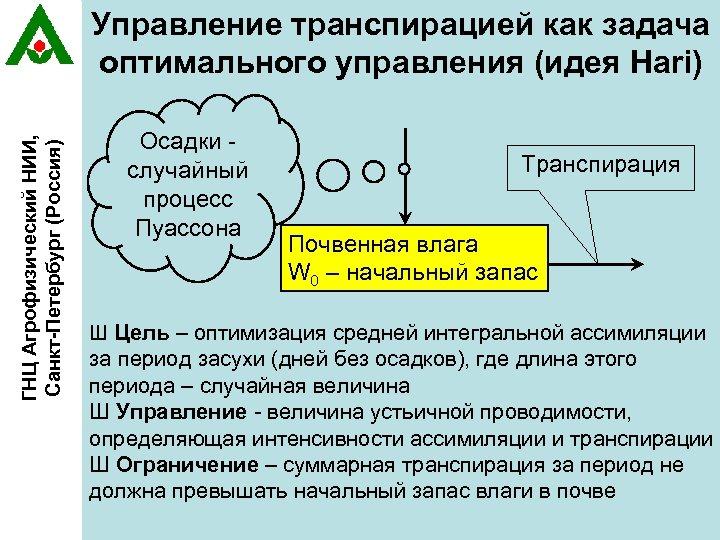 ГНЦ Агрофизический НИИ, Санкт-Петербург (Россия) Управление транспирацией как задача оптимального управления (идея Hari) Осадки