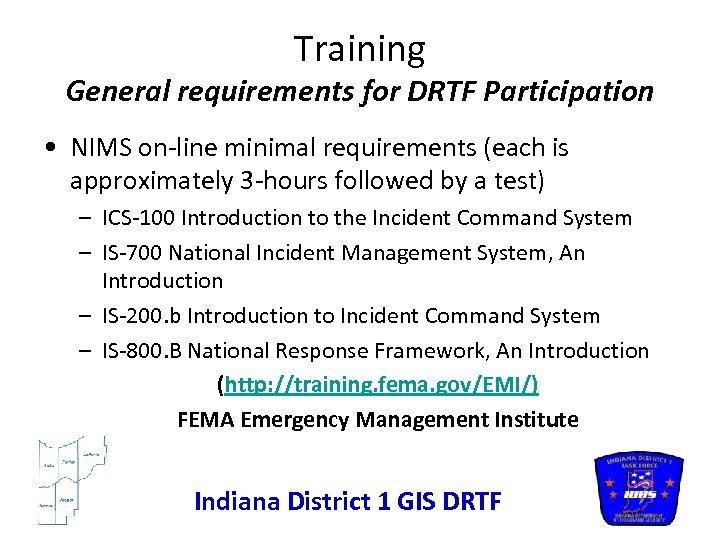 Organizing a GIS District Response Task Force DRTF