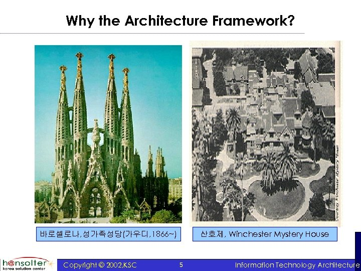 Why the Architecture Framework? 산호제, Winchester Mystery House 바로셀로나, 성가족성당(가우디, 1866~) Copyright © 2002,