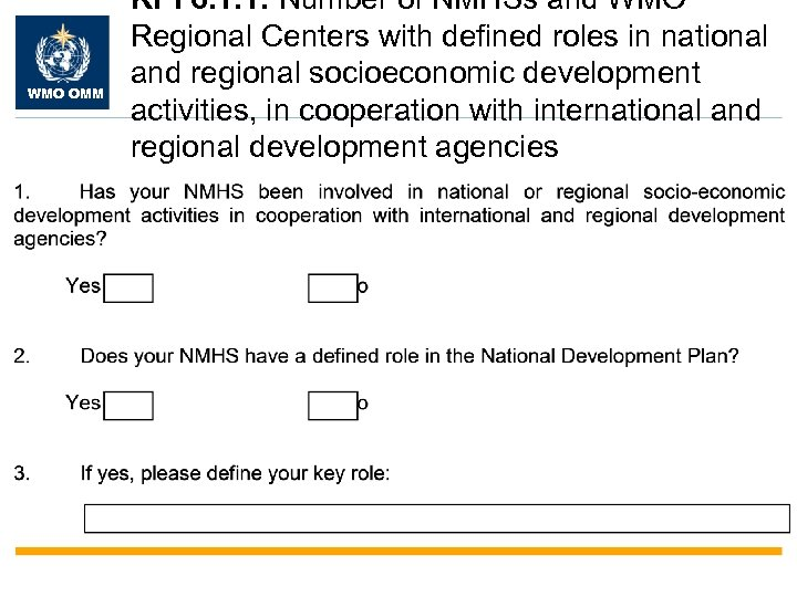 WMO OMM KPI 6. 1. 1: Number of NMHSs and WMO Regional Centers with