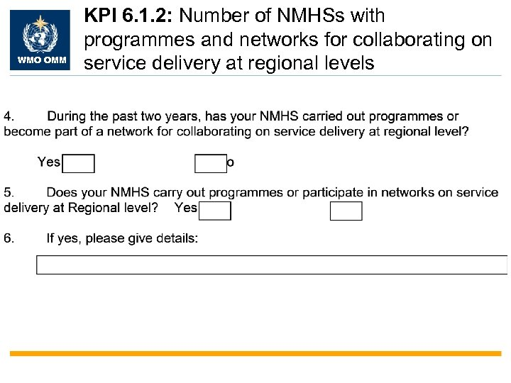 WMO OMM KPI 6. 1. 2: Number of NMHSs with programmes and networks for