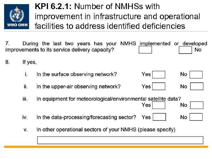 WMO OMM KPI 6. 2. 1: Number of NMHSs with improvement in infrastructure and