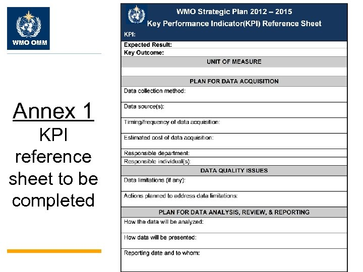 WMO OMM Annex 1 KPI reference sheet to be completed