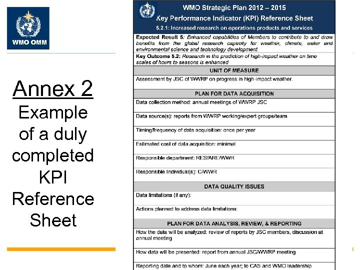 WMO OMM Annex 2 Example of a duly completed KPI Reference Sheet