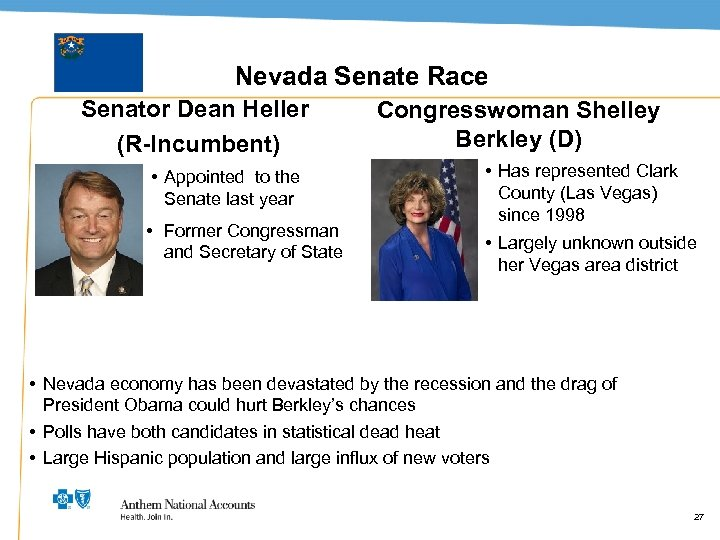 Nevada Senate Race Senator Dean Heller (R-Incumbent) • Appointed to the Senate last year