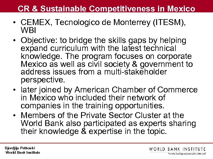 CR & Sustainable Competitiveness in Mexico • CEMEX, Tecnologico de Monterrey (ITESM), WBI •