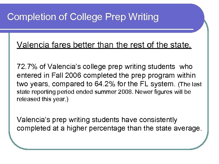 Completion of College Prep Writing Valencia fares better than the rest of the state.