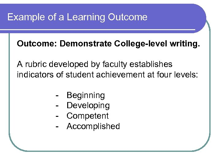 Example of a Learning Outcome: Demonstrate College-level writing. A rubric developed by faculty establishes