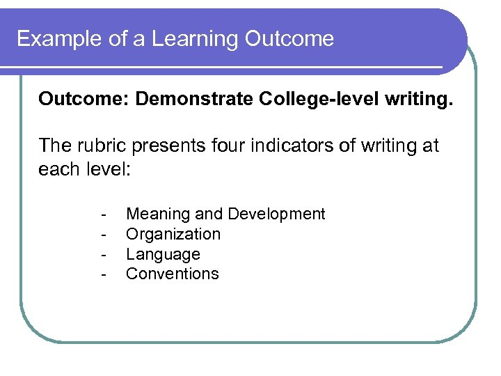 Example of a Learning Outcome: Demonstrate College-level writing. The rubric presents four indicators of