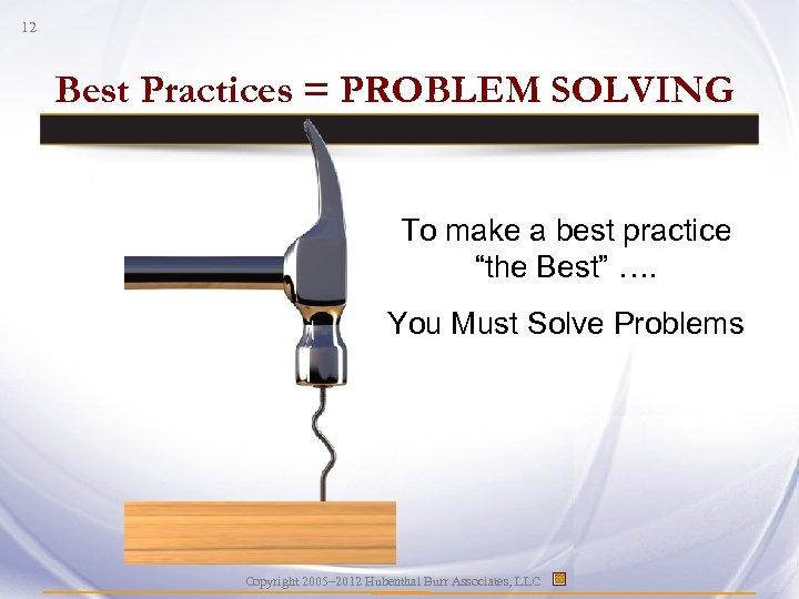 "12 Best Practices = PROBLEM SOLVING To make a best practice ""the Best"" …."