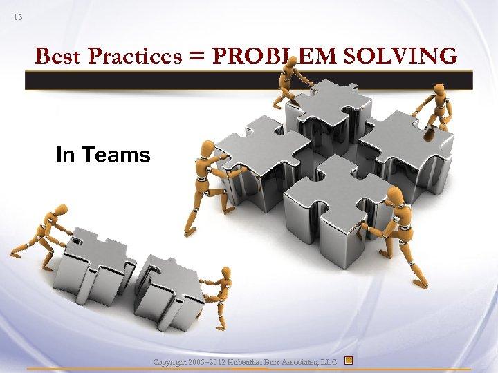 13 Best Practices = PROBLEM SOLVING In Teams Copyright 2005– 2012 Hubenthal Burr Associates,