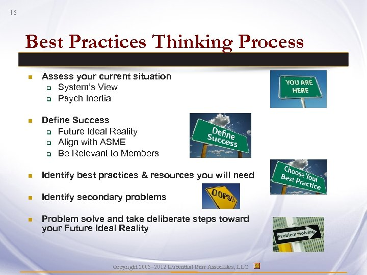 16 Best Practices Thinking Process n Assess your current situation q System's View q