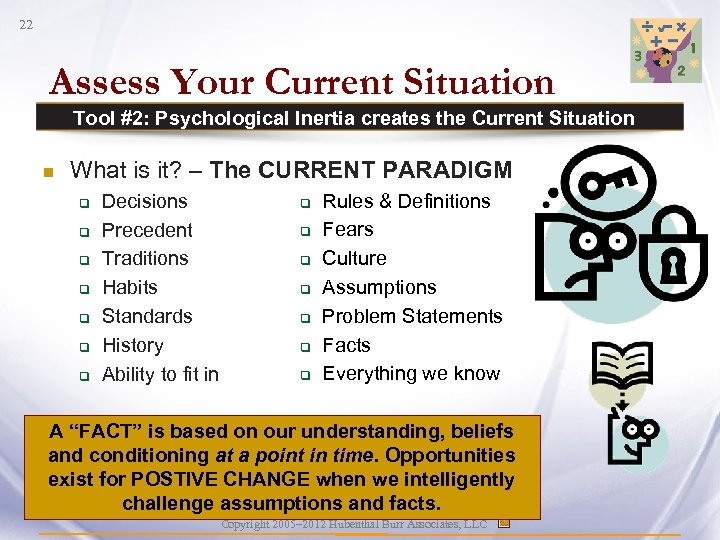 22 Assess Your Current Situation Tool #2: Psychological Inertia creates the Current Situation n