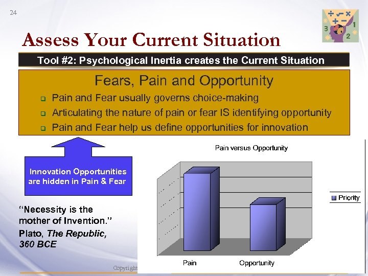 24 Assess Your Current Situation Tool #2: Psychological Inertia creates the Current Situation Fears,