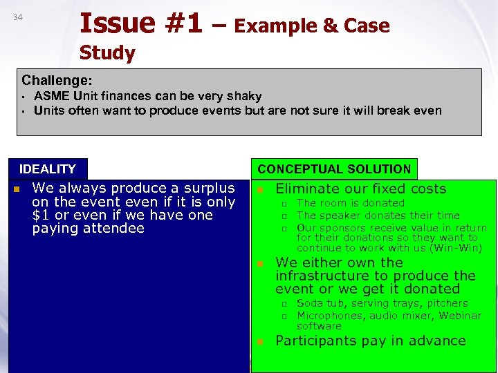 Issue #1 – Example & Case 34 Study Challenge: • • ASME Unit finances