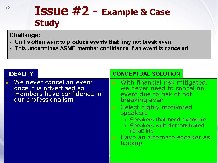 Issue #2 - Example & Case 35 Study Challenge: • • Unit's often want