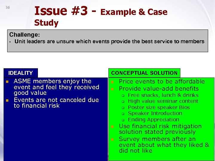 Issue #3 - Example & Case 36 Study Challenge: • Unit leaders are unsure