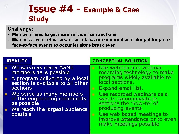 Issue #4 - Example & Case 37 Study Challenge: • • Members need to