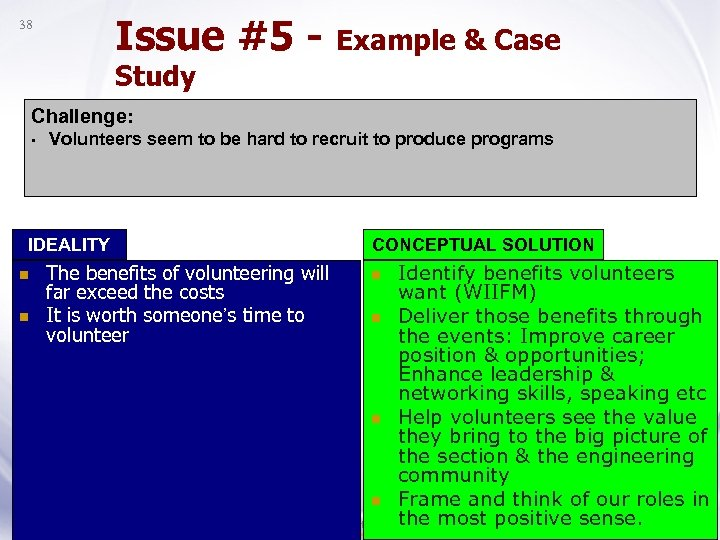 Issue #5 - Example & Case 38 Study Challenge: • Volunteers seem to be