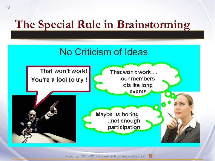 48 The Special Rule in Brainstorming No Criticism of Ideas That won't work! You're