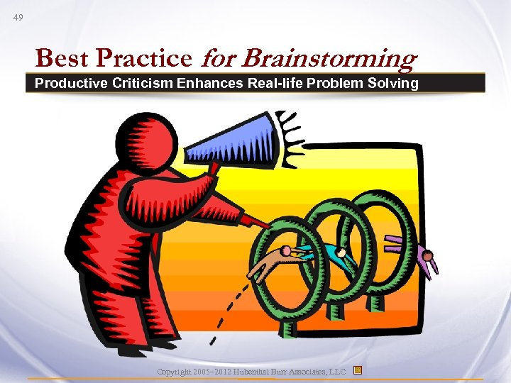 49 Best Practice for Brainstorming Productive Criticism Enhances Real-life Problem Solving Copyright 2005– 2012
