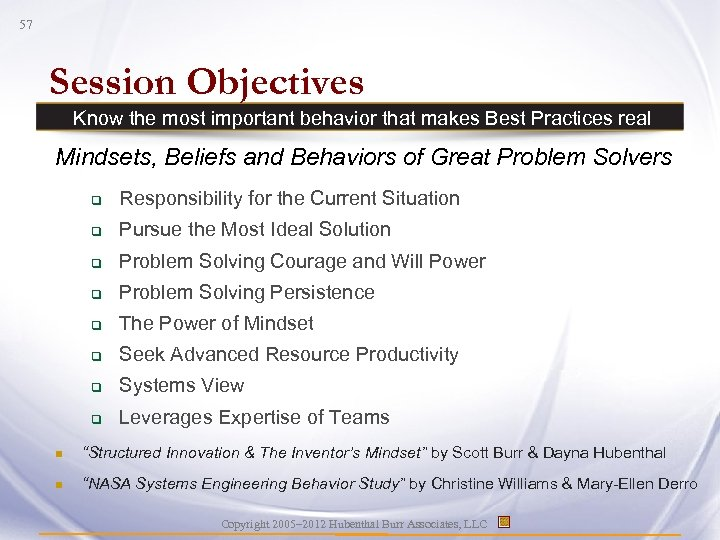 57 Session Objectives Know the most important behavior that makes Best Practices real Mindsets,
