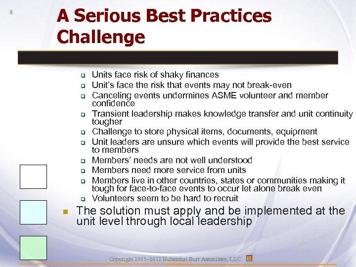 8 A Serious Best Practices Challenge q q q q q n Units face