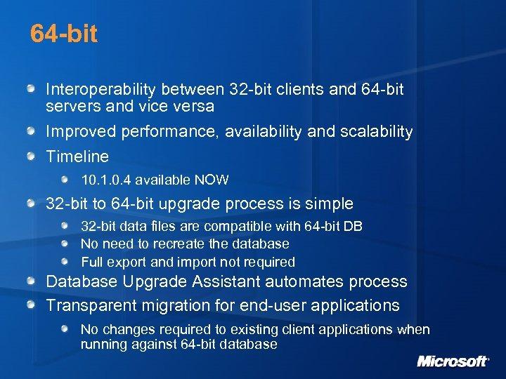 64 -bit Interoperability between 32 -bit clients and 64 -bit servers and vice versa