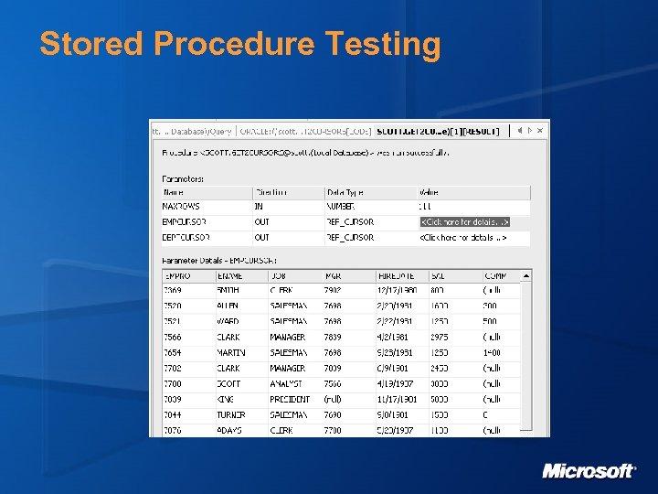 Stored Procedure Testing