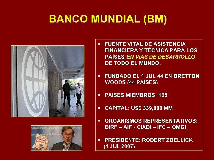 BANCO MUNDIAL (BM) § FUENTE VITAL DE ASISTENCIA FINANCIERA Y TÉCNICA PARA LOS PAÍSES