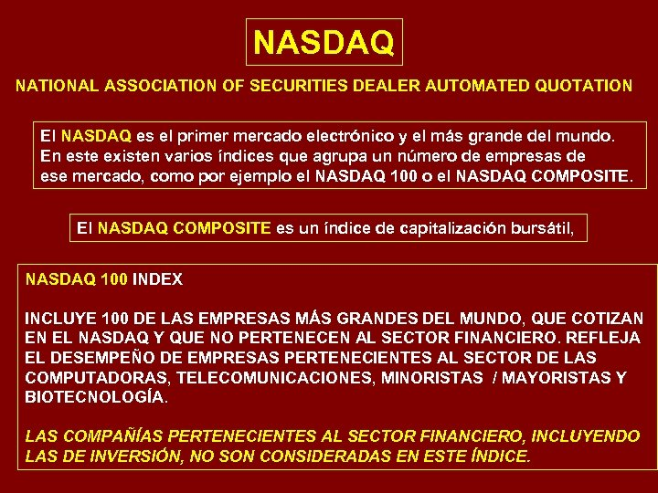 NASDAQ NATIONAL ASSOCIATION OF SECURITIES DEALER AUTOMATED QUOTATION El NASDAQ es el primer mercado