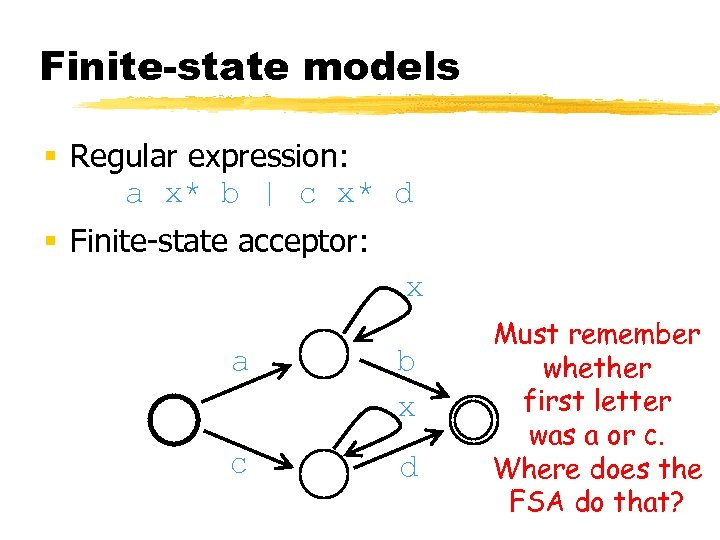 Finite-state models § Regular expression: a x* b | c x* d § Finite-state
