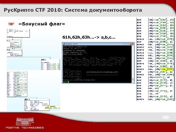 Рус. Крипто CTF 2010: Система документооборота «Бонусный флаг» 61 h, 62 h, 63 h.