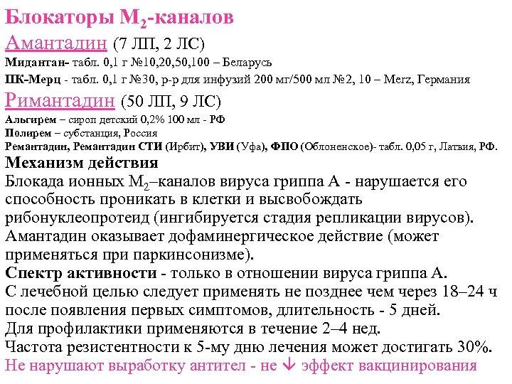 Блокаторы М 2 -каналов Амантадин (7 ЛП, 2 ЛС) Мидантан- табл. 0, 1 г