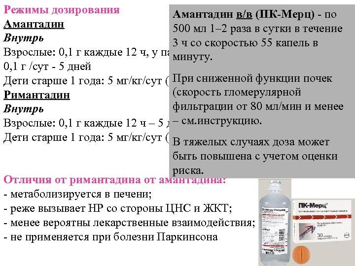 Режимы дозирования Амантадин в/в (ПК-Мерц) - по Амантадин 500 мл 1– 2 раза в